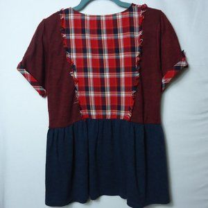 THML Red Navy Plaid SS Crew Neck Baby Doll Top